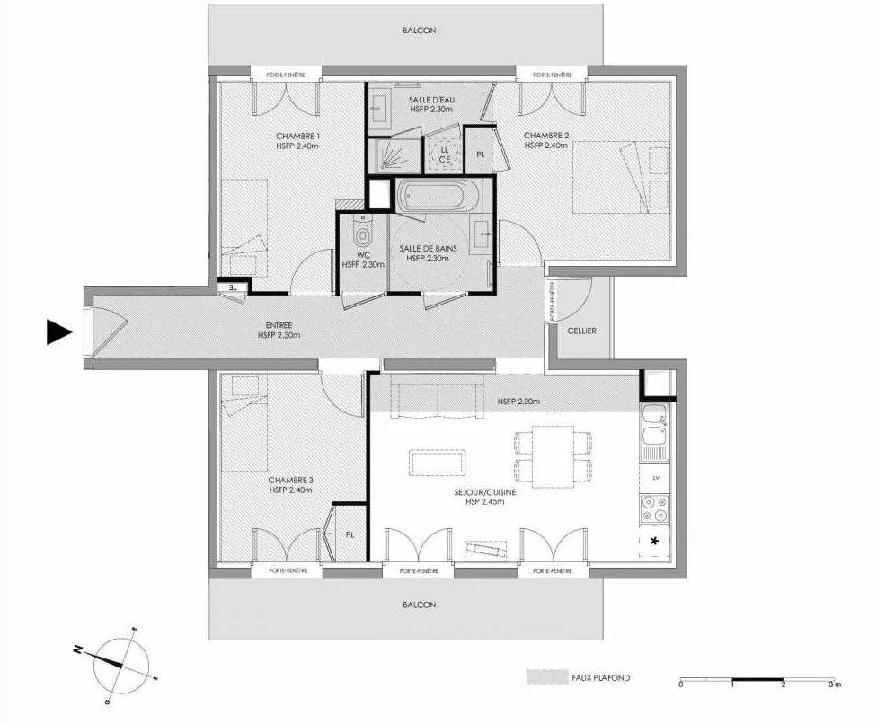 Plan 1.303, appartement neuf type T4 au 3ème étage, faisant 75m² du programme neuf LE DOMAINE SAINT-LOUIS à Chalon-sur-Saône.