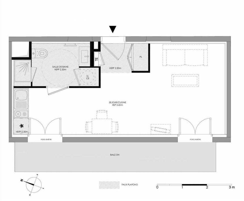 Plan 1.304, appartement neuf type T1 au 3ème étage, faisant 29m² du programme neuf LE DOMAINE SAINT-LOUIS à Chalon-sur-Saône.