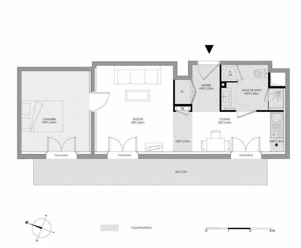 Plan 1.307, appartement neuf type T2 au 3ème étage, faisant 42m² du programme neuf LE DOMAINE SAINT-LOUIS à Chalon-sur-Saône.