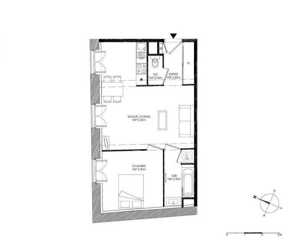 Plan 1.4, appartement neuf type T2 au 1er étage, faisant 46m² du programme neuf LE DOMAINE SAINT-LOUIS à Chalon-sur-Saône.