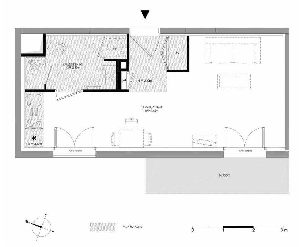 Plan 1.405, appartement neuf type T1 au 4ème étage, faisant 29m² du programme neuf LE DOMAINE SAINT-LOUIS à Chalon-sur-Saône.