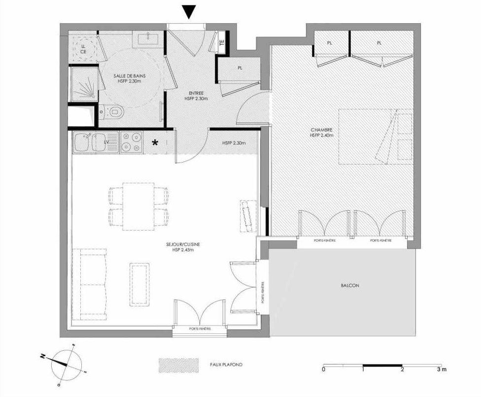 Plan 1.406, appartement neuf type T2 au 4ème étage, faisant 51m² du programme neuf LE DOMAINE SAINT-LOUIS à Chalon-sur-Saône.