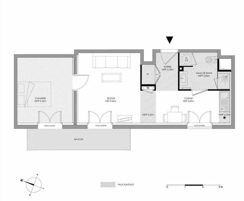 Plan 1.407, appartement neuf type T2 au 4ème étage, faisant 42m² du programme neuf LE DOMAINE SAINT-LOUIS à Chalon-sur-Saône.