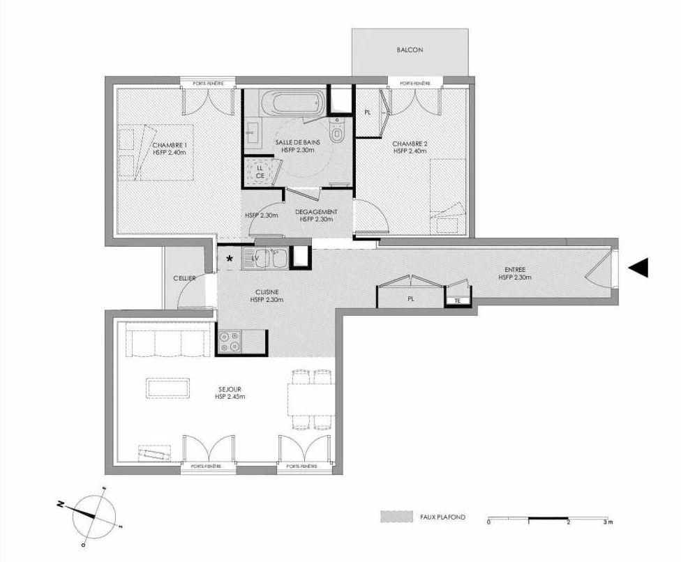 Plan 1.408, appartement neuf type T3 au 4ème étage, faisant 64m² du programme neuf LE DOMAINE SAINT-LOUIS à Chalon-sur-Saône.
