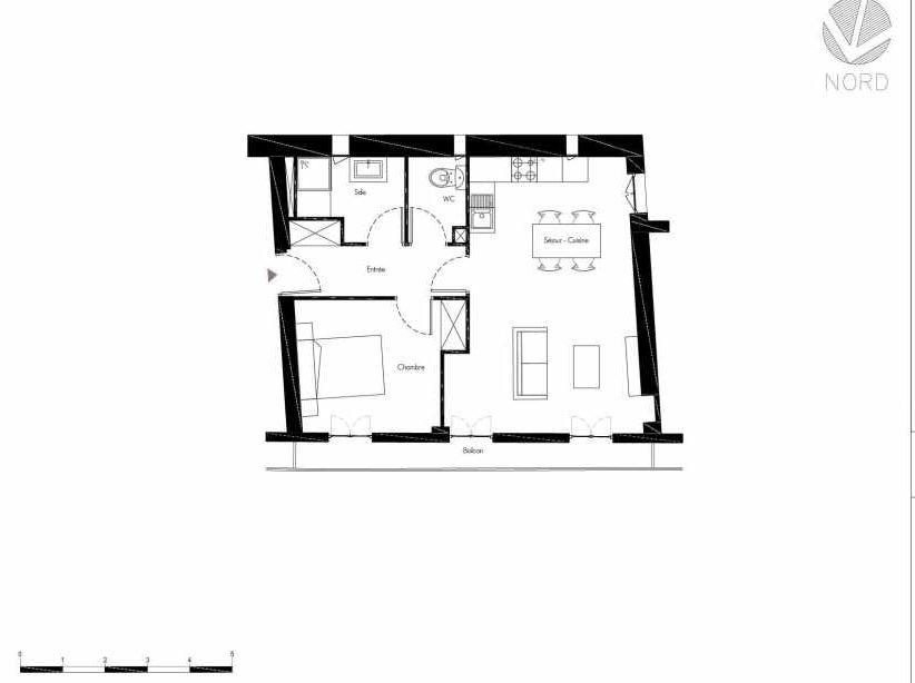 Plan 10, appartement neuf, faisant 51m² du programme neuf 1 Rue Grignan à Marseille.
