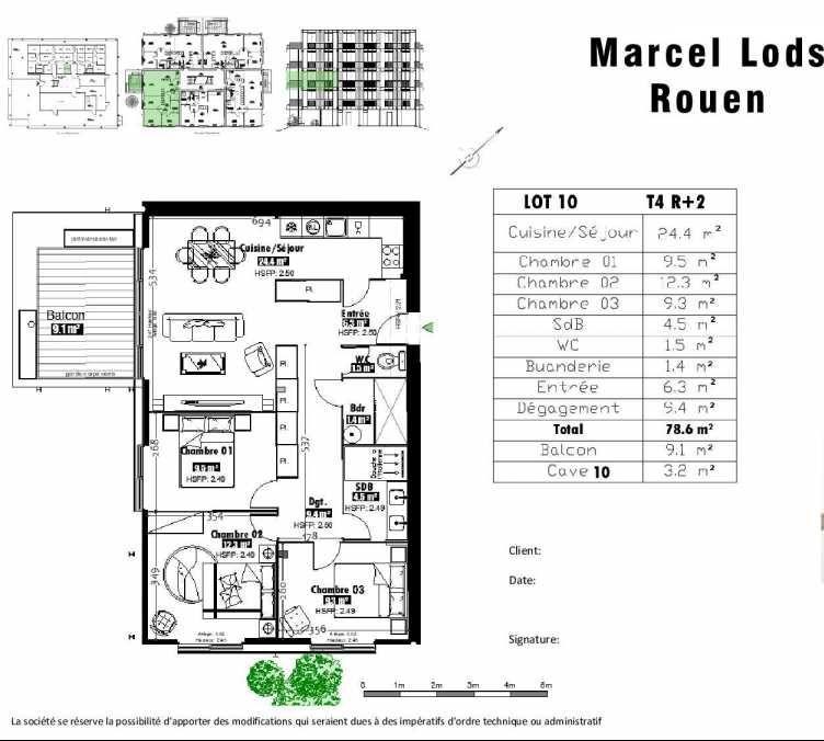 Plan 10, appartement neuf type T4 au 2ème étage, faisant 79m² du programme neuf 15 rue Jean-Philippe Rameau à Rouen.
