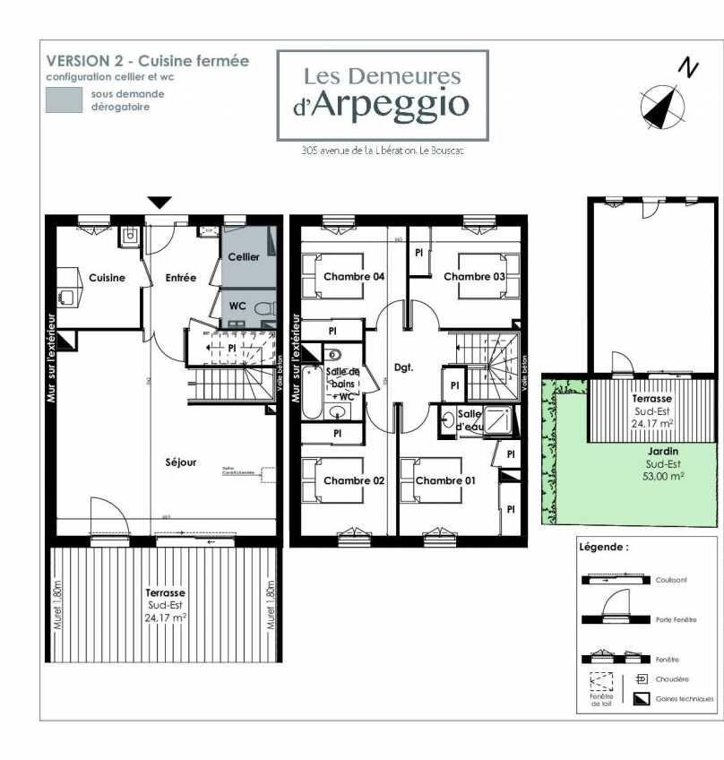 Plan 10, appartement neuf type T5 au Rez de chaussée, orienté Sud faisant 113m² du programme neuf LES DEMEURES D'ARPEGGIO à Le Bouscat.