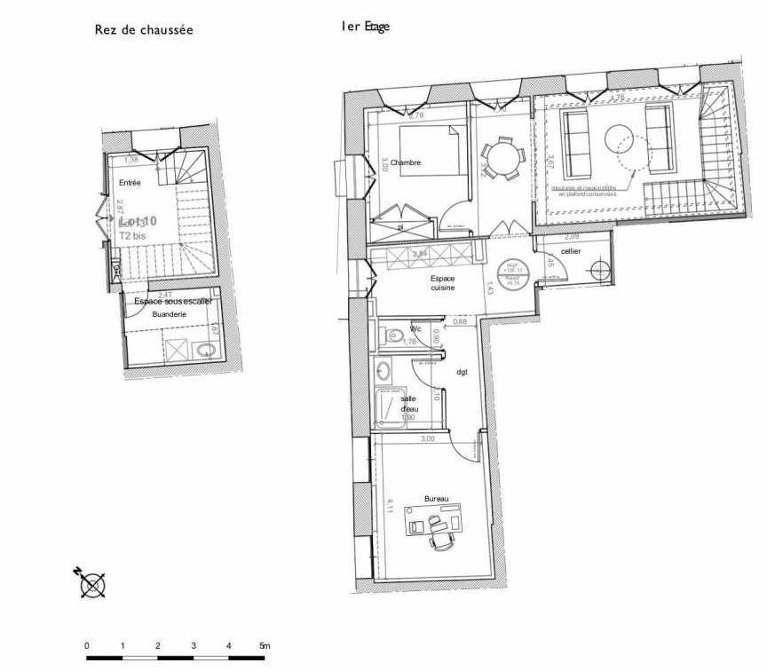 Plan 10, appartement neuf type T2 au 1er étage, faisant 75m² du programme neuf LES HAUTS DE MIRABEAU à Aix-en-Provence.
