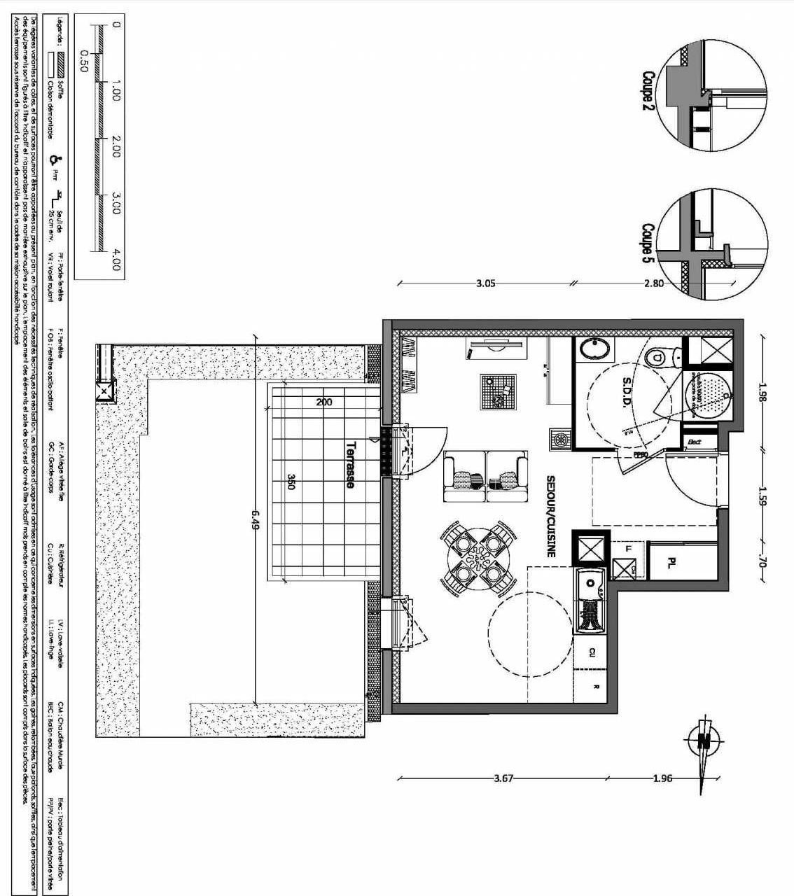 Plan 10, appartement neuf type T1 au Rez de chaussée, orienté Est faisant 31m² du programme neuf NOUVELLE VAGUE BATIMENT B - ACCESS 37 LOTS à Benerville-sur-Mer.