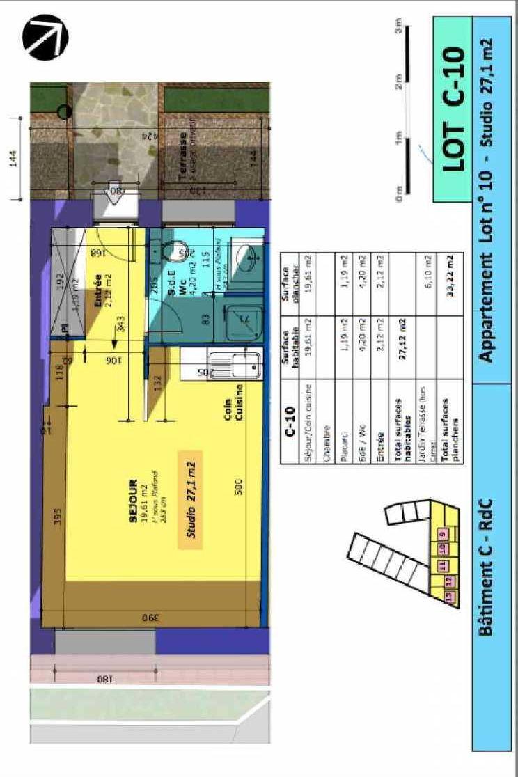 Plan 10, appartement neuf type T1 au Rez de chaussée, faisant 27m² du programme neuf Rue de Gournay - Bat C à Chelles.