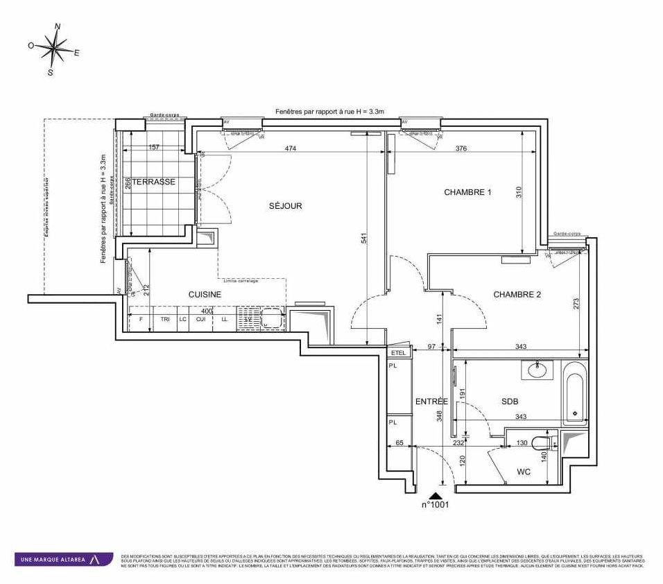 Plan 1001, appartement neuf type T3 au Rez de chaussée, orienté Sud faisant 66m² du programme neuf 18 RUE CHARLES MARTIGNY à Maisons-Alfort.