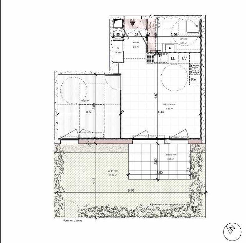 Plan 1001, appartement neuf type T2 au Rez de chaussée, orienté Sud faisant 43m² du programme neuf 1PULSION ACCESSION à Dijon.