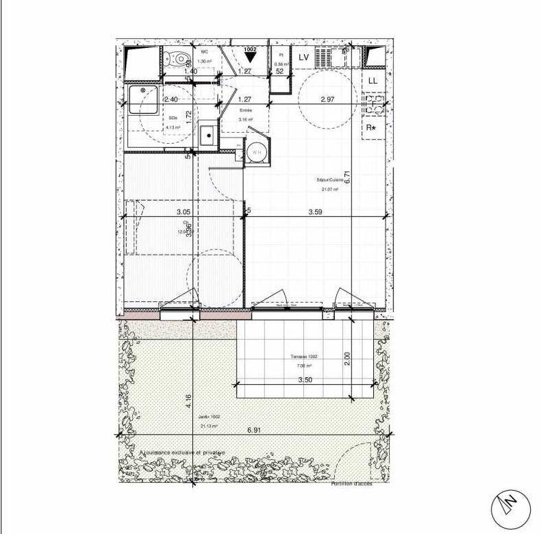 Plan 1002, appartement neuf type T2 au Rez de chaussée, orienté Sud faisant 42m² du programme neuf 1PULSION ACCESSION à Dijon.