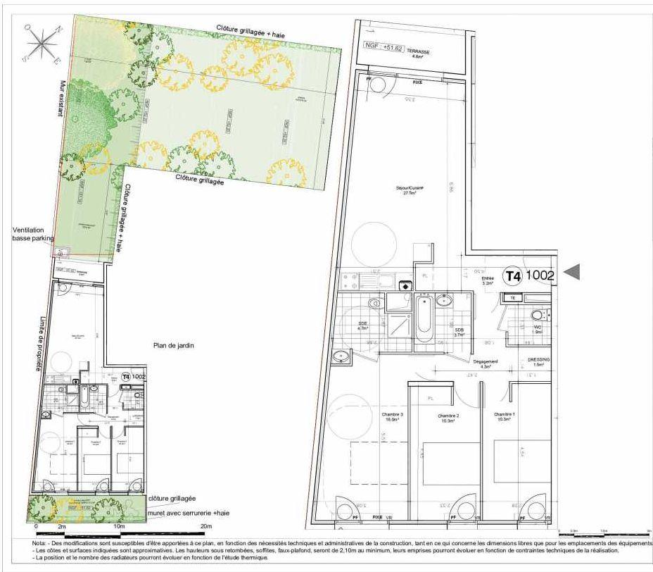 Plan 1002, appartement neuf type T4 au Rez de chaussée, orienté Nord faisant 84m² du programme neuf LES JARDINS D'AUNAIS ACCESSION à Aulnay-sous-Bois.