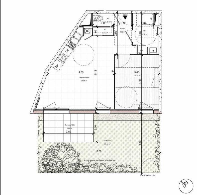 Plan 1003, appartement neuf type T2 au Rez de chaussée, orienté Sud faisant 45m² du programme neuf 1PULSION ACCESSION à Dijon.