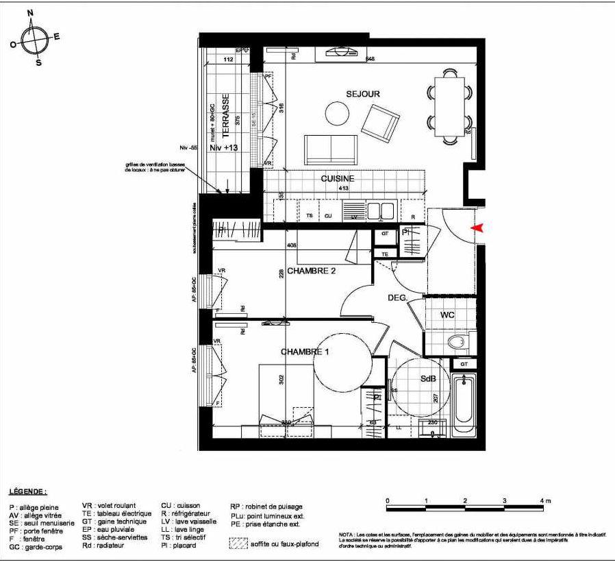 Plan 1003, appartement neuf type T3 au Rez de chaussée, orienté Ouest faisant 60m² du programme neuf ARTISTIK BAT 1 LOT 1001 A 1306 à Cormeilles-en-Parisis.