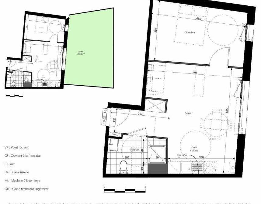 Plan 1003, appartement neuf type T2 au Rez de chaussée, orienté Nord faisant 42m² du programme neuf COEURVILLE BAT A à Amiens.