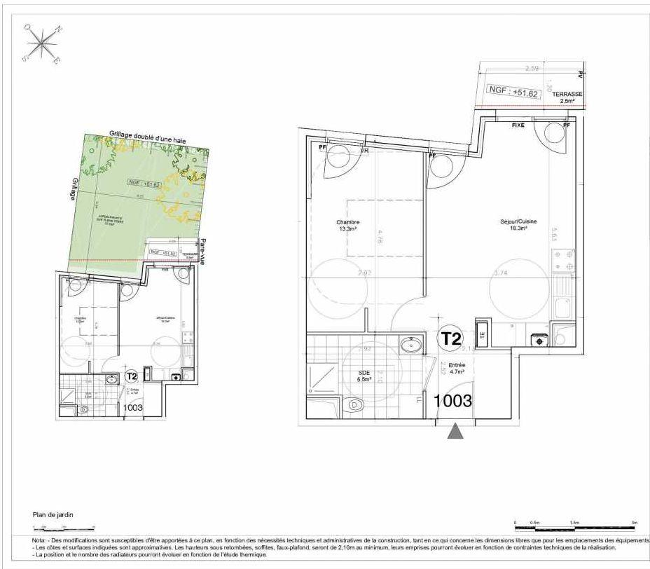 Plan 1003, appartement neuf type T2 au Rez de chaussée, orienté Nord faisant 42m² du programme neuf LES JARDINS D'AUNAIS ACCESSION à Aulnay-sous-Bois.