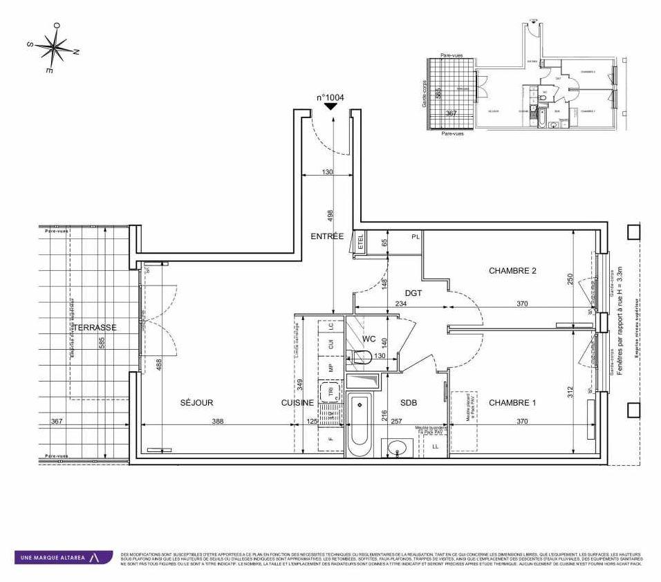 Plan 1004, appartement neuf type T3 au Rez de chaussée, orienté Sud faisant 64m² du programme neuf 18 RUE CHARLES MARTIGNY à Maisons-Alfort.