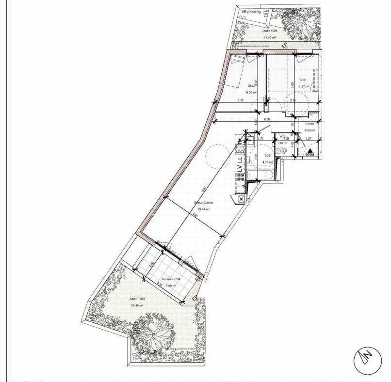 Plan 1004, appartement neuf type T3 au Rez de chaussée, orienté Est faisant 68m² du programme neuf 1PULSION LOGEMENTS ABORDABLES à Dijon.