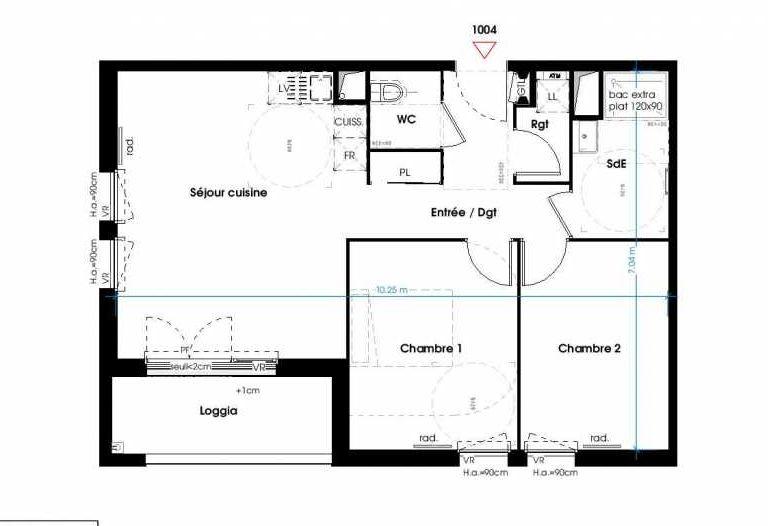 Plan 1004, appartement neuf type T3 au 1er étage, orienté Est faisant 62m² du programme neuf LES JARDINS D'ANAIS BAT 1 à Lormont.