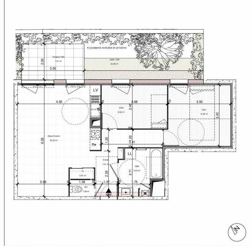 Plan 1005, appartement neuf type T3 au Rez de chaussée, orienté Nord faisant 61m² du programme neuf 1PULSION LOGEMENTS ABORDABLES à Dijon.