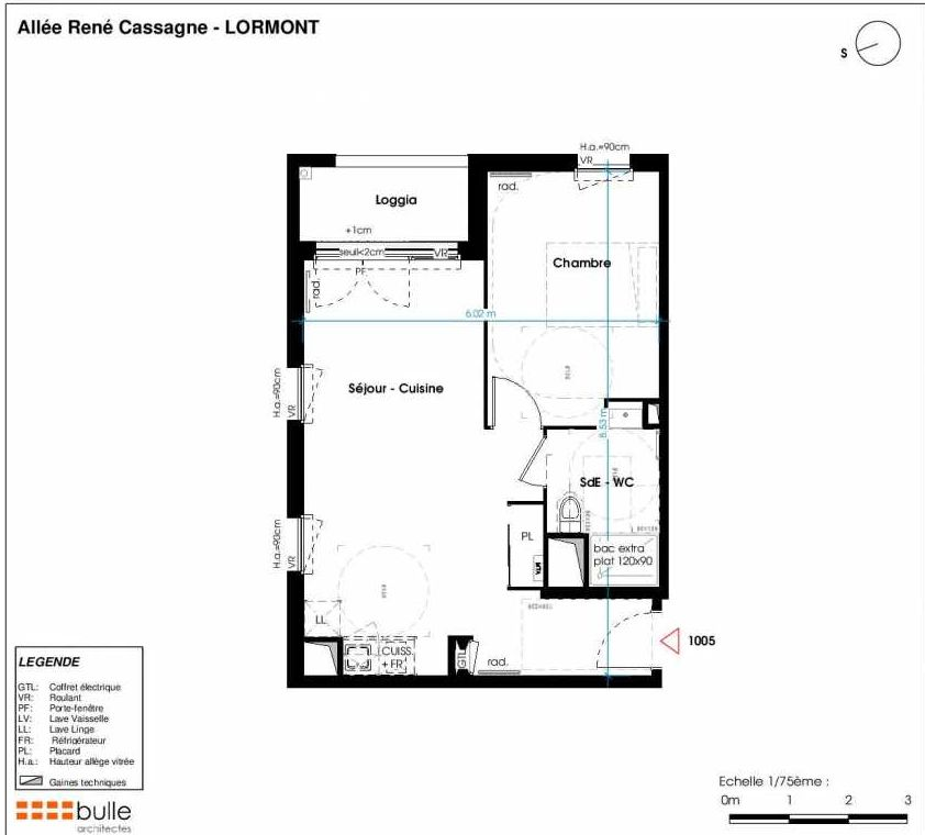 Plan 1005, appartement neuf type T2 au 1er étage, faisant 44m² du programme neuf LES JARDINS D'ANAIS à Lormont.