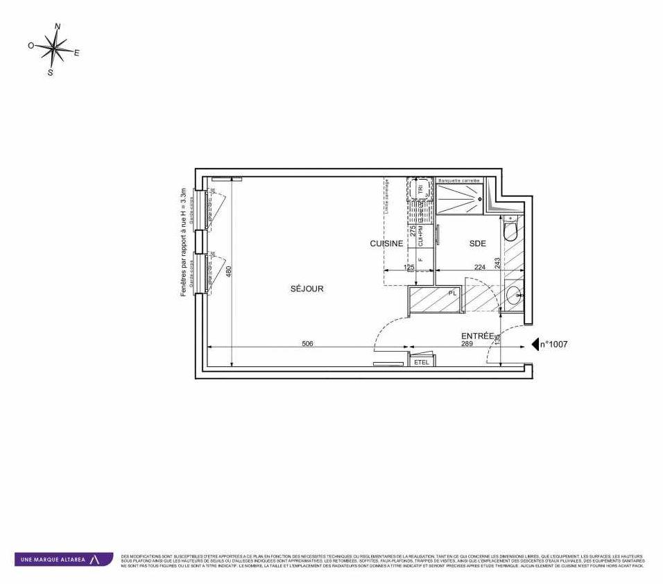 Plan 1007, appartement neuf type T1 au Rez de chaussée, orienté Sud faisant 37m² du programme neuf 18 RUE CHARLES MARTIGNY à Maisons-Alfort.