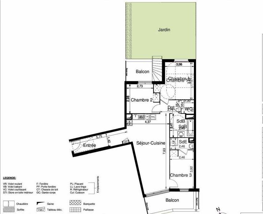 Plan 1007, appartement neuf type T4 au Rez de chaussée, orienté Sud faisant 80m² du programme neuf LES JARDINS D'ARGELIES BÂTIMENT 1 ET 2 à Juvisy-sur-Orge.