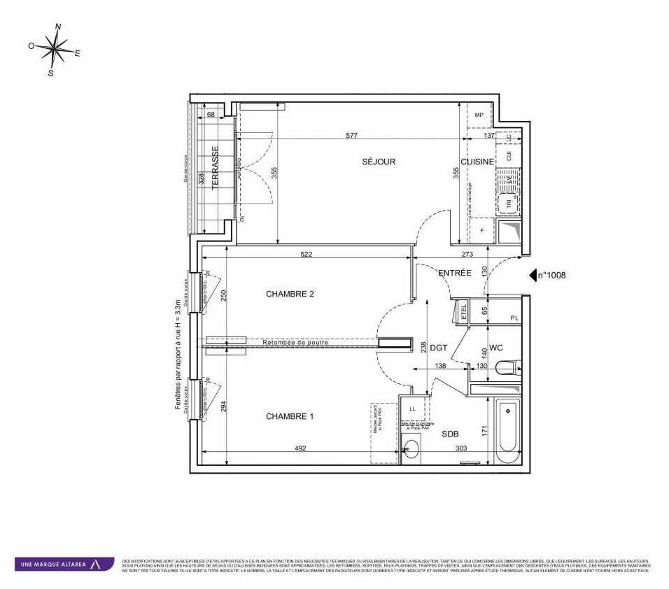 Plan 1008, appartement neuf type T3 au Rez de chaussée, orienté Sud faisant 67m² du programme neuf 18 RUE CHARLES MARTIGNY à Maisons-Alfort.