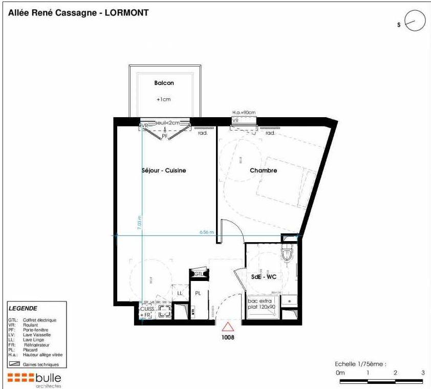 Plan 1008, appartement neuf type T2 au 1er étage, faisant 46m² du programme neuf LES JARDINS D'ANAIS à Lormont.