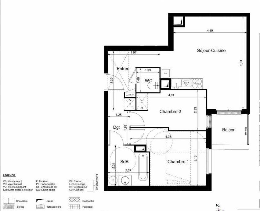 Plan 1008, appartement neuf type T3 au Rez de chaussée, orienté Sud faisant 57m² du programme neuf LES JARDINS D'ARGELIES BÂTIMENT 1 ET 2 à Juvisy-sur-Orge.