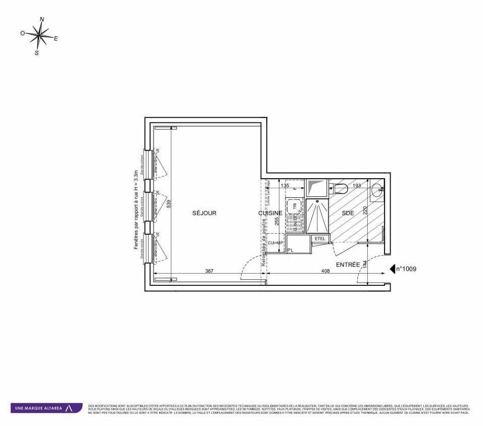Plan 1009, appartement neuf type T1 au Rez de chaussée, orienté Sud faisant 35m² du programme neuf 18 RUE CHARLES MARTIGNY à Maisons-Alfort.