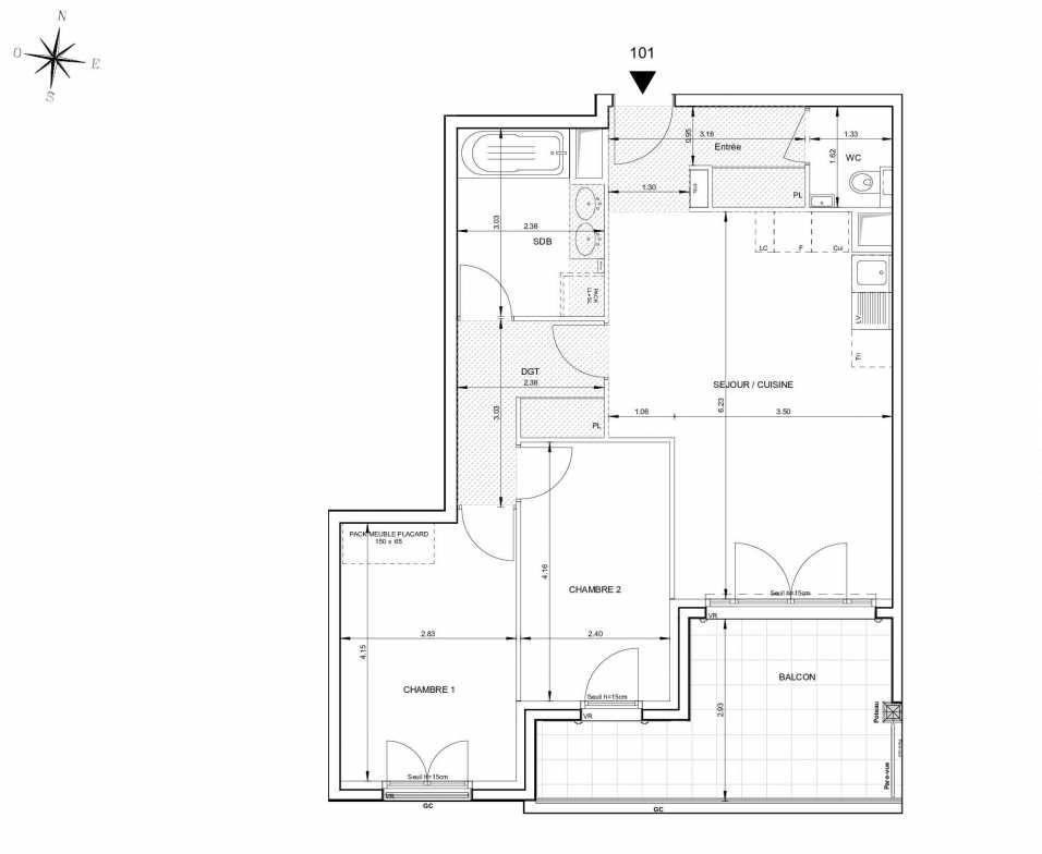 Plan 101, appartement neuf type T3 au 1er étage, orienté Sud faisant 66m² du programme neuf 124 FONTENAILLE à Aix-en-Provence.