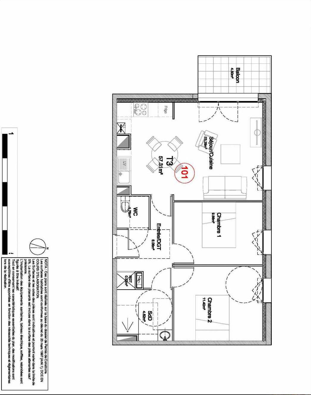 Plan 101, appartement neuf type T3 au 1er étage, orienté Ouest faisant 57m² du programme neuf 194 OUEST AVENUE à Déville-lès-Rouen.