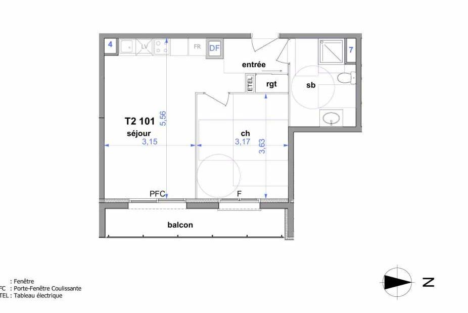 Plan 101, appartement neuf type T2 au 1er étage, orienté Est faisant 41m² du programme neuf Au fil de l'O1 à Maromme.