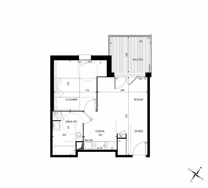 Plan 101, appartement neuf type T2 au 1er étage, orienté Sud faisant 42m² du programme neuf Green Park à Castanet-Tolosan.