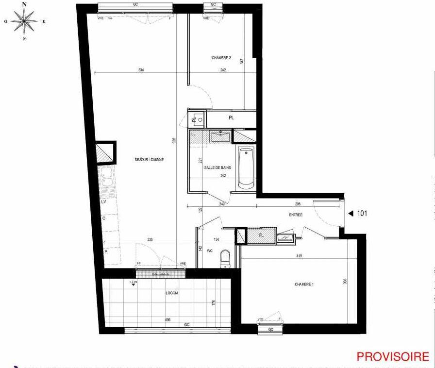 Plan 101, appartement neuf type T3 au 1er étage, orienté Sud faisant 67m² du programme neuf L'Exception à Nantes.