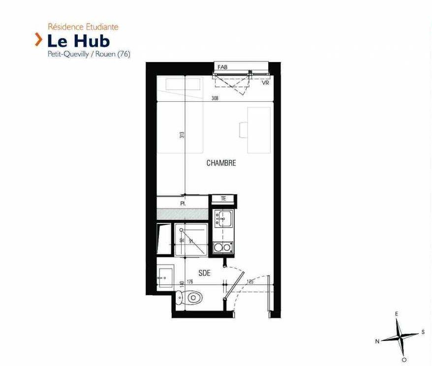 Plan 101, appartement neuf type T1 au 1er étage, faisant 18m² du programme neuf Le Hub à Le Petit-Quevilly.