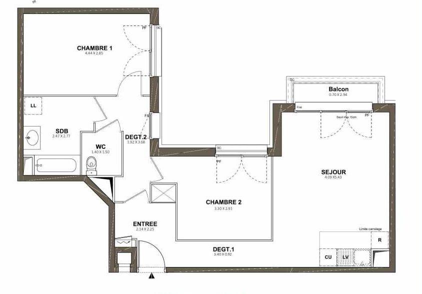 Plan 101, appartement neuf type T3 au 1er étage, faisant 65m² du programme neuf Pavillon Royal à Saint-Cyr-l'École.