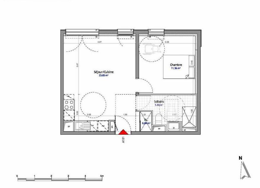 Plan 101, appartement neuf type T2 au 1er étage, orienté Est faisant 42m² du programme neuf SOUTH PARK BAT A NUE PROPRIETE à Amiens.