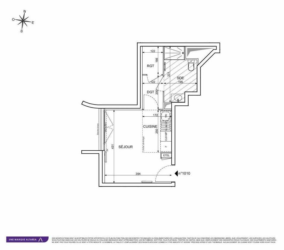 Plan 1010, appartement neuf type T1 au Rez de chaussée, orienté Sud faisant 27m² du programme neuf 18 RUE CHARLES MARTIGNY à Maisons-Alfort.