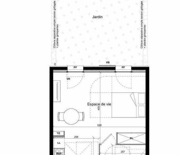 Plan recadré du lot neuf du programme neuf TEMPO BAT 1