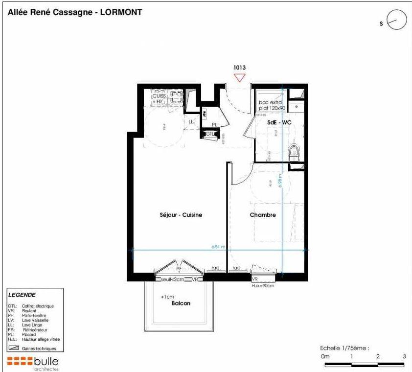 Plan 1013, appartement neuf type T2 au 1er étage, faisant 42m² du programme neuf LES JARDINS D'ANAIS à Lormont.