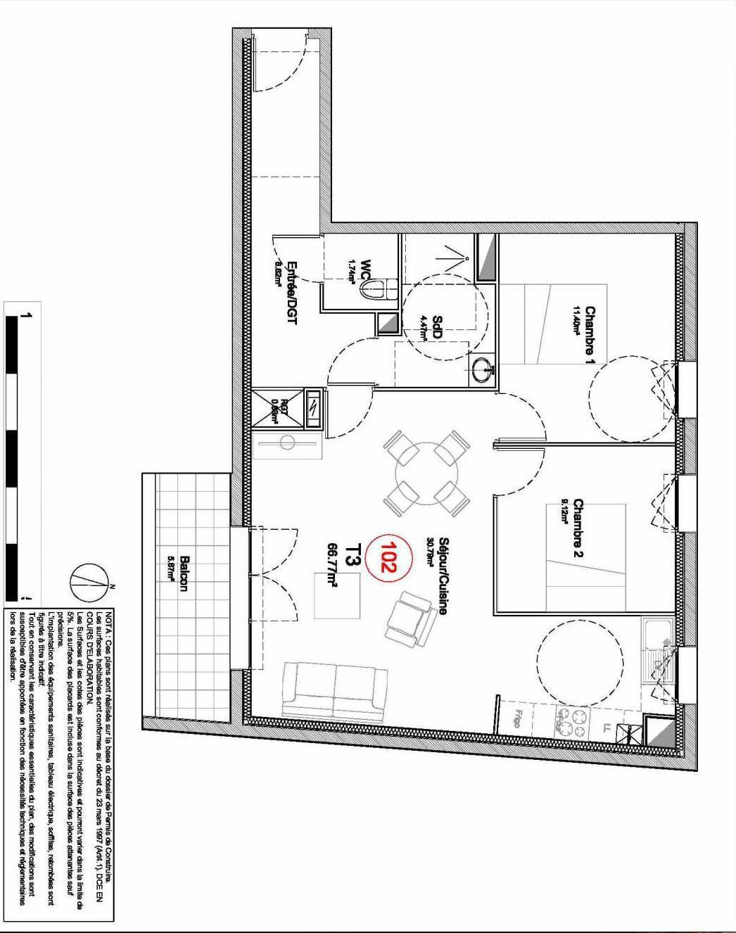 Plan 102, appartement neuf type T3 au 1er étage, orienté Sud faisant 67m² du programme neuf 194 OUEST AVENUE à Déville-lès-Rouen.