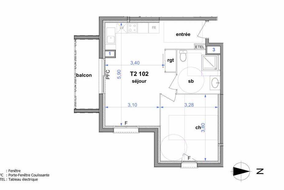 Plan 102, appartement neuf type T2 au 1er étage, orienté Sud faisant 43m² du programme neuf Au fil de l'O1 à Maromme.