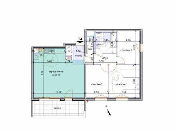 Plan 102, appartement neuf type T4 au 1er étage, faisant 77m² du programme neuf Pinel Annemasse à Annemasse.