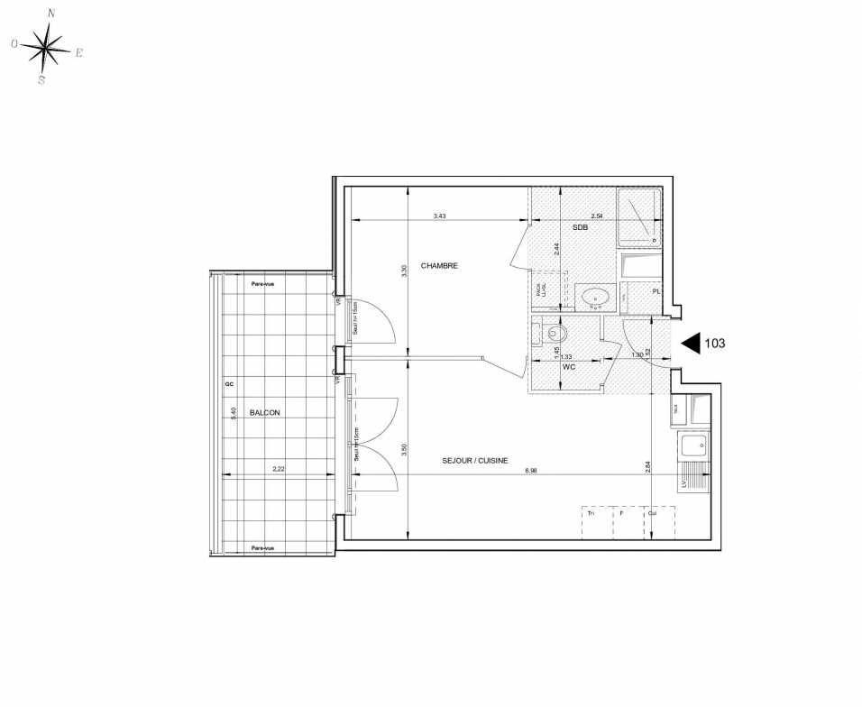 Plan 103, appartement neuf type T2 au 1er étage, orienté Ouest faisant 42m² du programme neuf 124 FONTENAILLE à Aix-en-Provence.