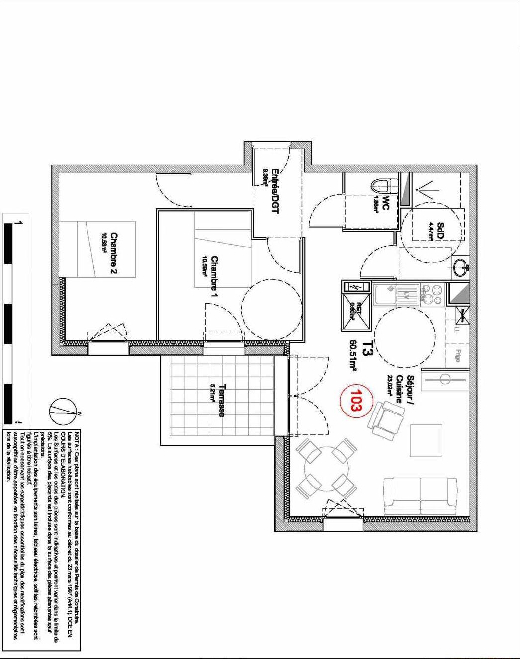 Plan 103, appartement neuf type T3 au 1er étage, orienté Est faisant 61m² du programme neuf 194 OUEST AVENUE à Déville-lès-Rouen.