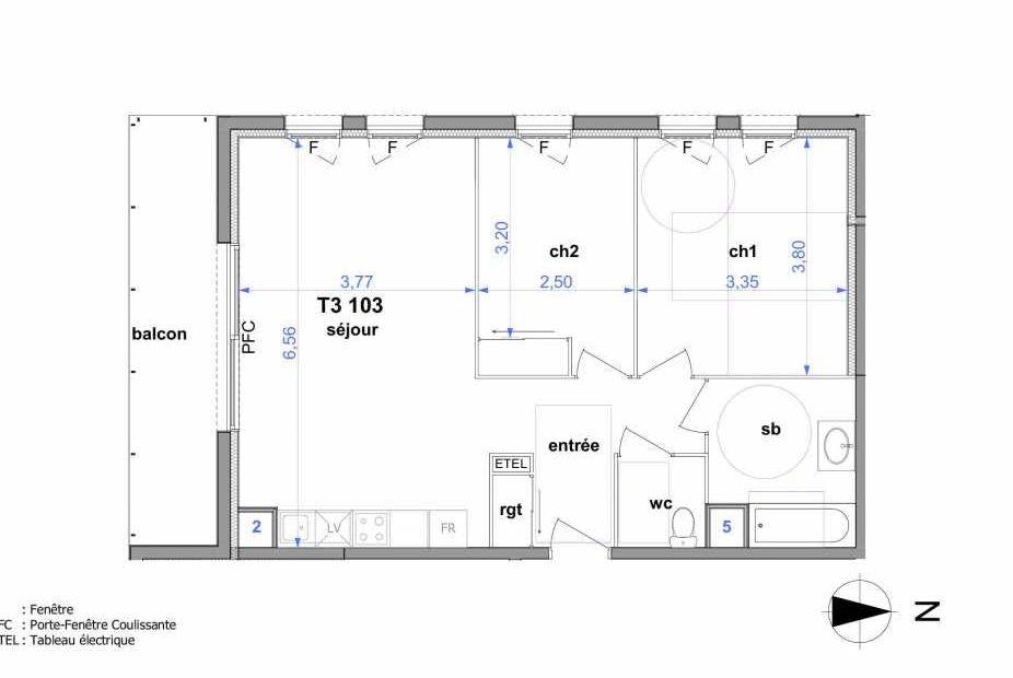Plan 103, appartement neuf type T3 au 1er étage, orienté Sud faisant 62m² du programme neuf Au fil de l'O1 à Maromme.